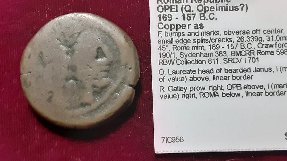169-157BC Roman Republic Copper As