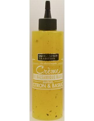 Crème de balsamique blanc citron et basilic