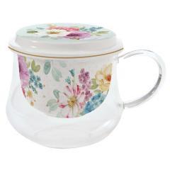 tasse verre inf.+couv. porcelaine 'Cottage', 275ml