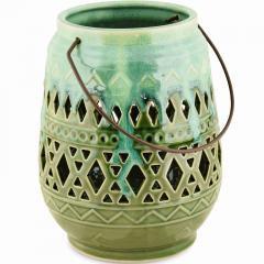 Lanterne verte, céramique, 17x17x22cm