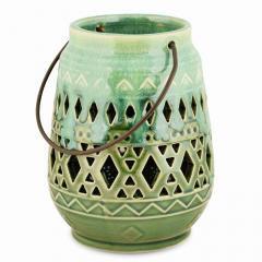 Lanterne verte, céramique, 11x11x15cm
