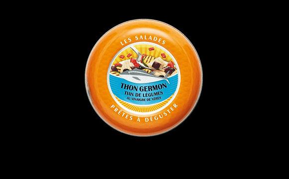 Salade prête à déguster de thon germon, tian de légumes au vinaigre de Xérès
