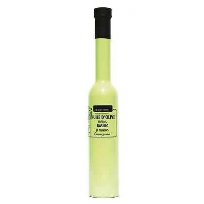 Huile d'olive saveur basilic et pignon