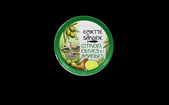 Émietté de sardine citron, olives et amandes