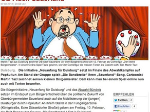"WAZ: ""Digitale Tortenwürfe gegen OB Sauerland"" (2012)"