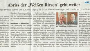 """Artikel """"Abriss des Weißen Riesen geht weiter"""" (NRZ, 27.9.2017)"""