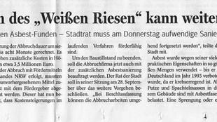 """Artikel """"Abbruch des Weißen Riesen kann weitergehen"""" (NRZ, 26.09.2017)"""