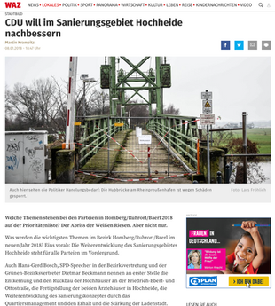 WAZ: CDU will im Sanierungsgebiet Hochheide nachbessern