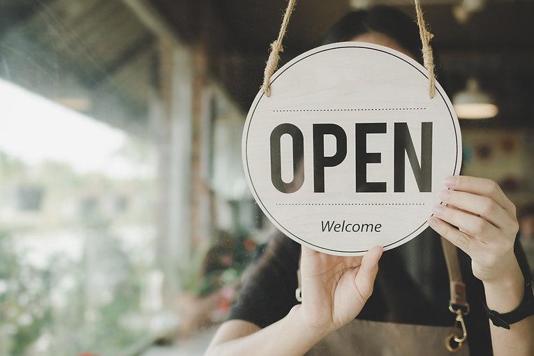 Welcome. Open. barista, waitress woman t