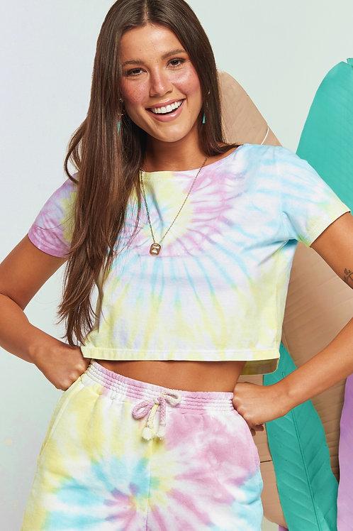 T-shirt Cropped Tie-Dye