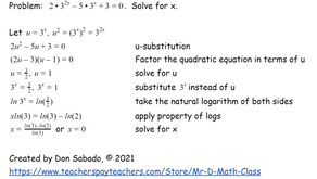 Using the Natural Logarithm to solve Quadratic Form Equations