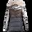 Thumbnail: Doudoune multi-matières métallisée capuche fourrure femme