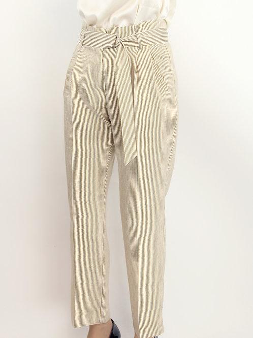 Pantalon rayé ceinturé