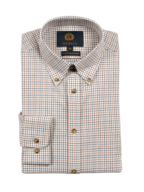Chemise à carreaux en coton et laine