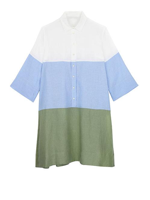 Robe 3 couleurs évasée en lin