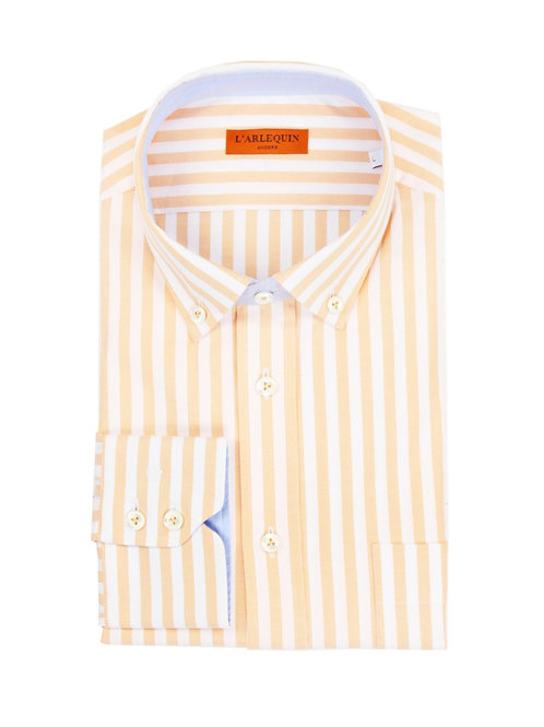 Chemise en coton rayée orange