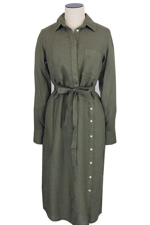 Robe longue en lin ceinturée