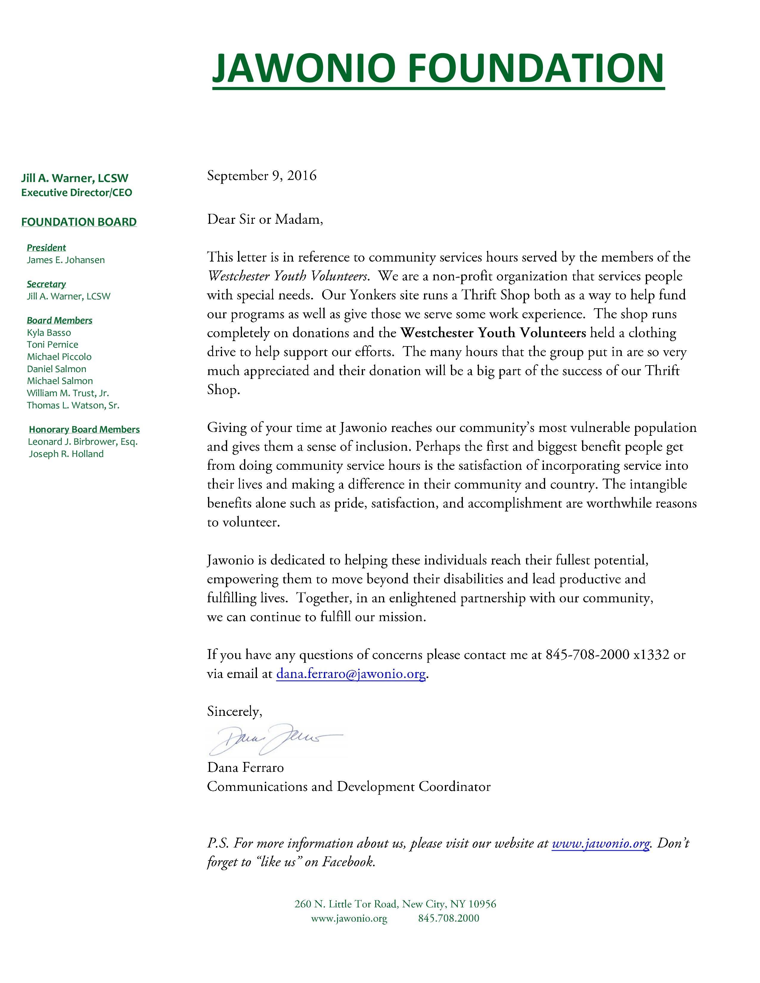 community service hours letter-Westchest
