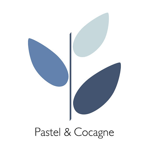logo Pastel et Cocagne design graphique moderne, illustration d'inspiration botanique