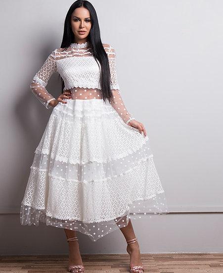 Very Elegant Mid Calf See Through Dress