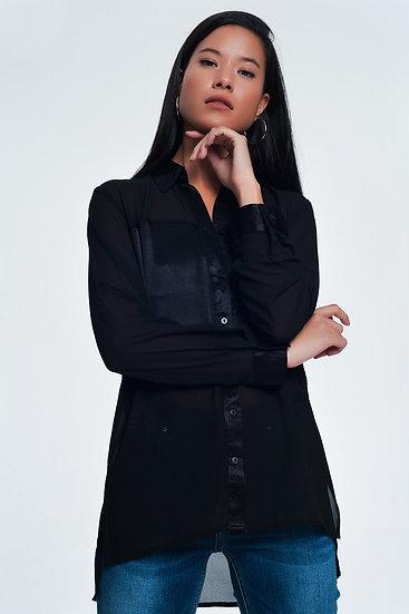 Black Relaxed Satin Long Sleeve Shirt