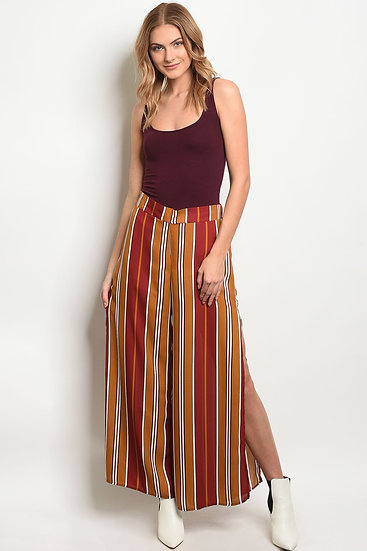 Womens Mustard Fitted Stripes Pants