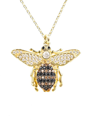 Honey Bee Pendant Necklace Gold