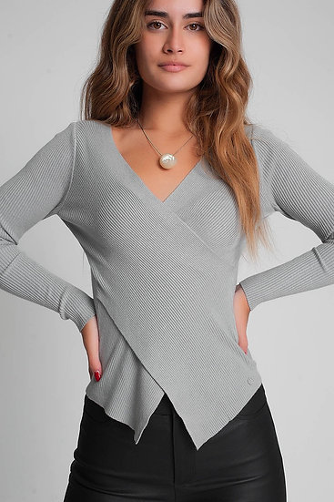 Light Gray Ribbed Wrap Sweater With V-Neck