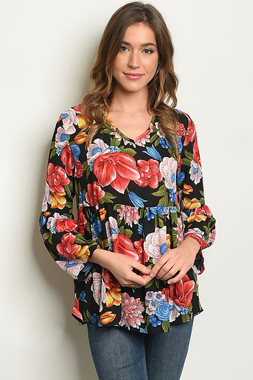 Floral Print Tunic Baby Doll Top