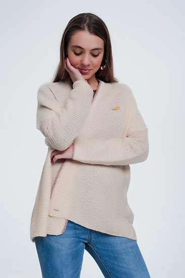 Pink Cardigan With Shiny Details and Pin