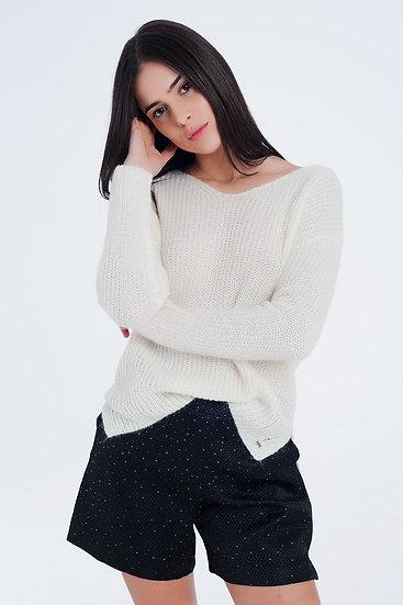 Cream Coloured Sweater With V-Neck