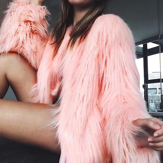 Fluffy Long Faux Fur Coat - Range of Shades