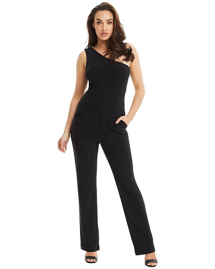 One Shoulder Pantsuit - Black