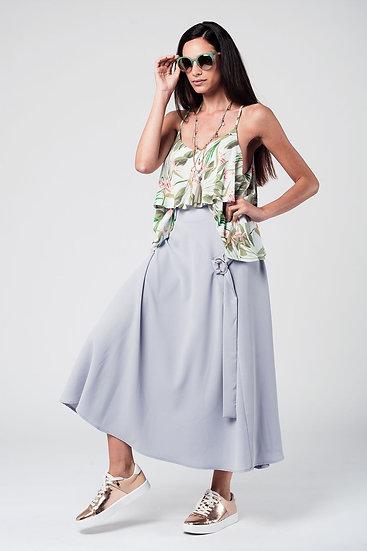 Grey Midi Skirt With Belt