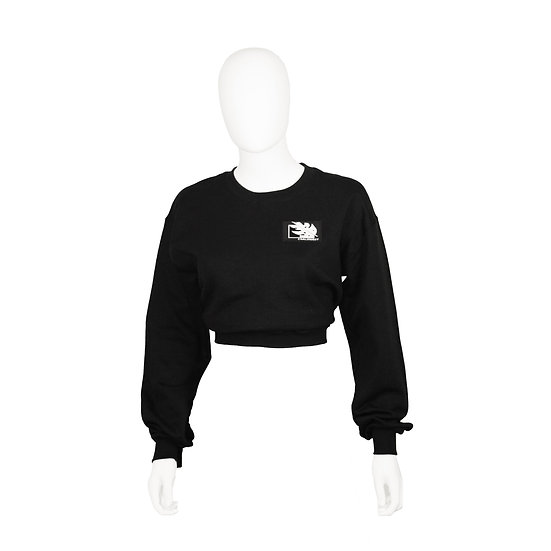 Chaluisant Crop Sweatshirt - Black / White
