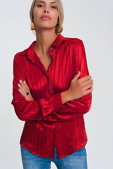 Long Sleeve Satin Striped Shirt in Red