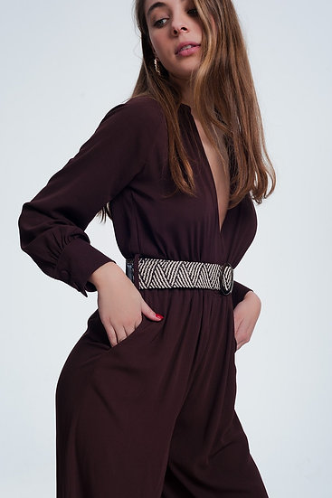 Maroon Jumpsuit With Striped Belt