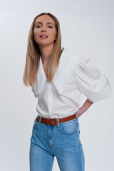 Oversized Collared Shirt in White
