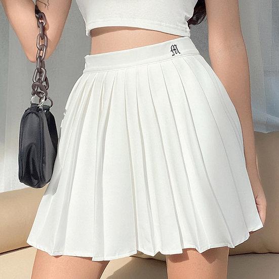 Zebery Pleated Short Skirt - White
