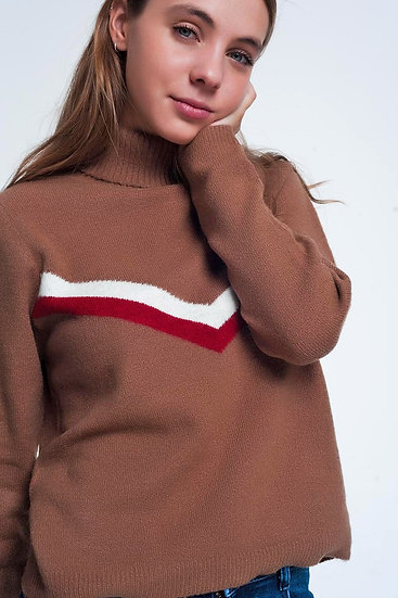 Sweater With Chevron Detail in Brown