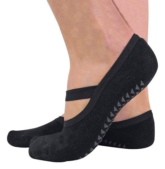 2 Pairs Ladies Non Slip Yoga Socks With Strap - Range of Colours