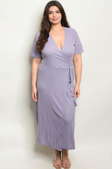 V-Neck Wrap Jersey Dress