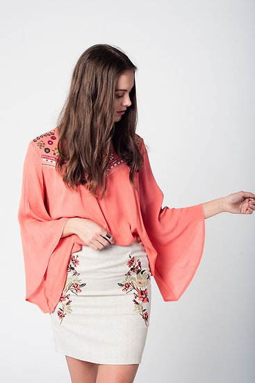 Coral Blouse With Embroidery Detail