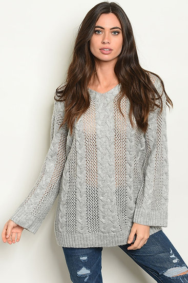 Long Sleeve Scoop Neck Cable Knit  Grey Sweater