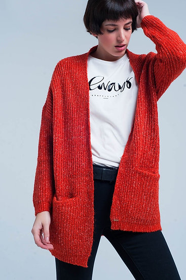 Orange Fleck Knitted Cardigan