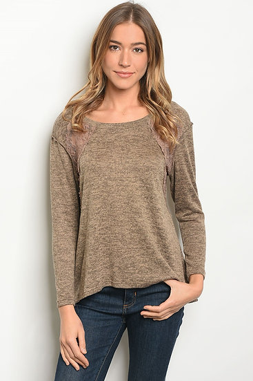 Scoop Neck Knit Top - Navy/Olive
