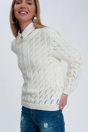 Crochet Jumper in Cream