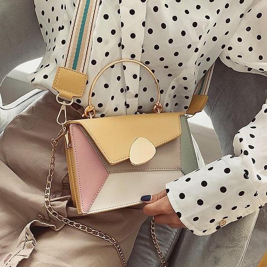 Contrast PU Leather Crossbody Shoulder Messenger Bag