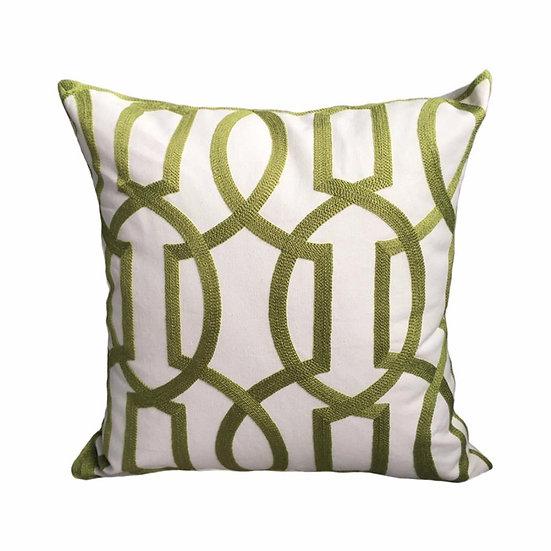 Modern Geometric Cord Embroidery Gray & Green Cotton Cushion Cover 45 X 45 Cm