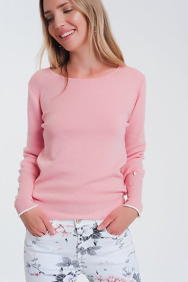 Crew Neck Sweater With Button Detail in Pink